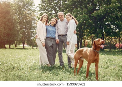 Family in a summer park. People walking with a dog. Parents with a two daughters