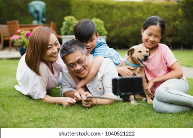 Family are taking a selfie with a smartphone on a selfie stick in their garden with their pet dog.