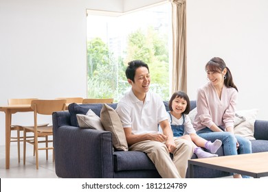 Family talking in the living room