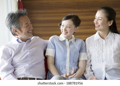 family talking with smile