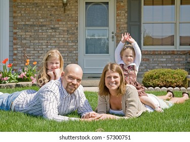 Family in Their Front Yard