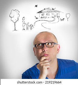 Family thinking man credit future solution stabilization idea