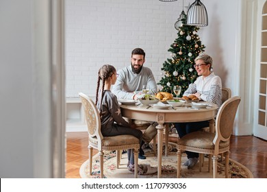 Family of three having lunch for Christmas holidays