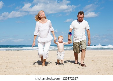Family of three in the Mediterranean