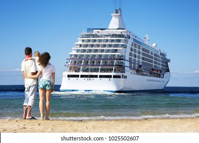 Family of three people watching after a departing cruise ship on the beach, collage