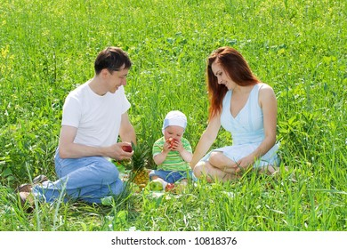 Family from three person at picnic on green grass