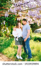 Family of three under a blooming wysteria tree on a sunny day