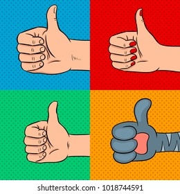 Family thumbs up pop art retro raster illustration. Comic book style imitation.