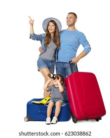 Family Travel Suitcase, Child on Luggage Binocular Looking Up, People Pointing Up with Vacation Baggage, Isolated over White Background