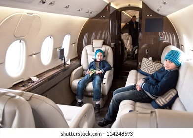 Family Traveling by Commercial Airplane
