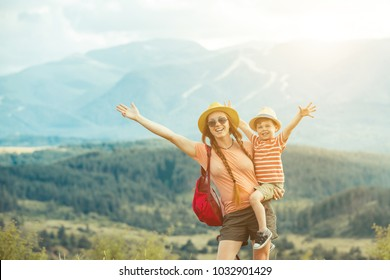Family traveling in Rila mountains Bulgaria