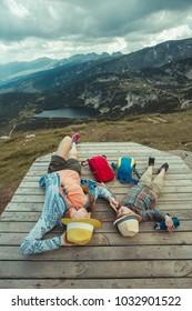 Family traveling in Rila mountains Bulgaria
