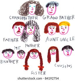 Family tree drawing done by a child