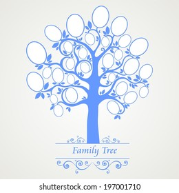 Family tree - frames empty for your input.  Illustration