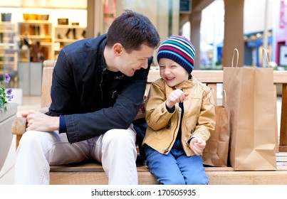 family of two having fun during shopping
