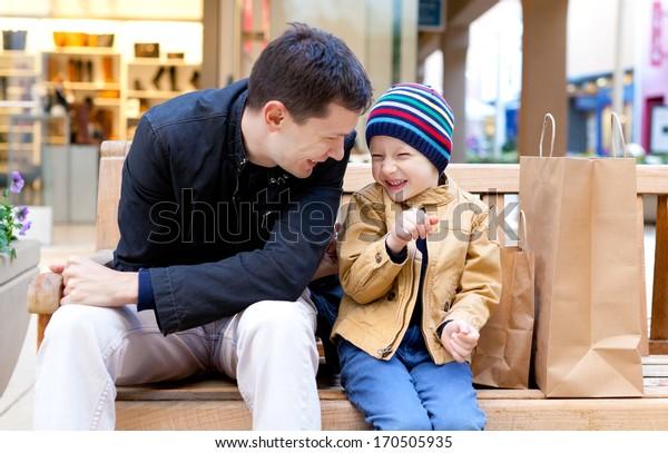 family of two having fun during shopping