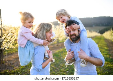 Family with two small children standing outdoors in orchard in spring.