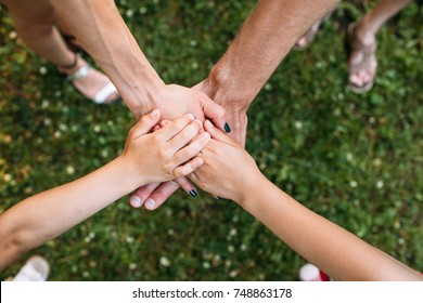 Family unity team spirit protect nature concept. For the preservation of the environment