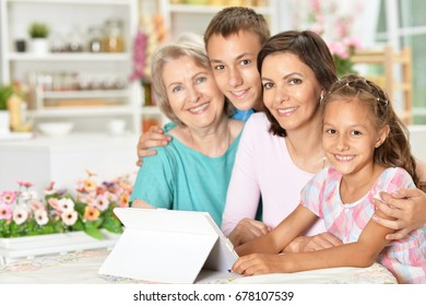 Family use a tablet