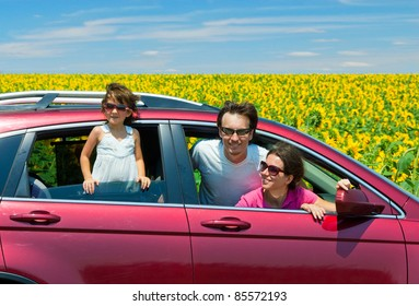 Family vacation. Parents with child in car trip