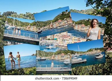 Family vacation in Portofino, mother and two children, collage.