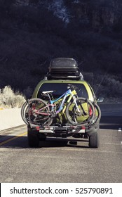 Family Vacation Vehicle with Bikes on Rack