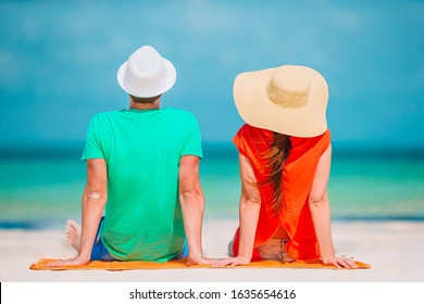 Family vacation. Young couple enjoy beach holiday