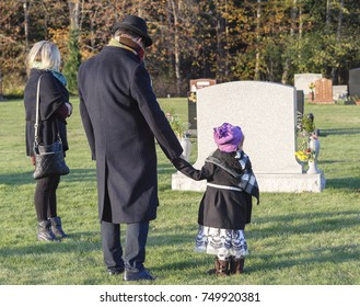 Family visits cemetery