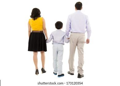 family walking away in studio