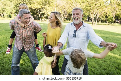 Family Walking Field Nature Togetherness Concept