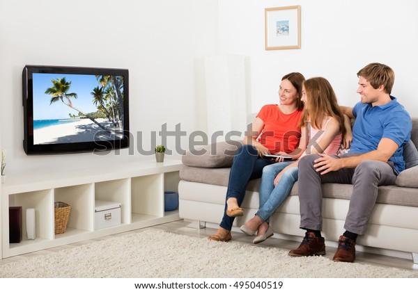 Family Watching Tv Living Room Stock Photo (Edit Now) 495040519