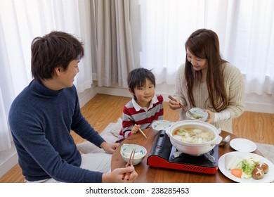 The family who eats Japanese casserole