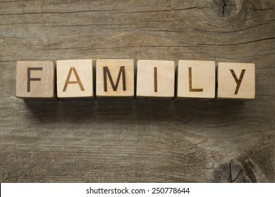 family word on a wooden blocks