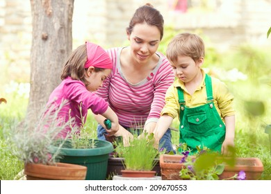 Family working together in a garden