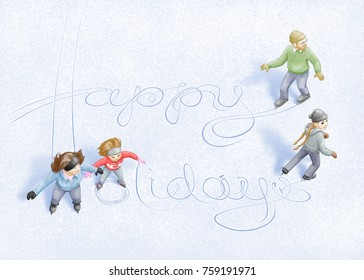 """A family writes the words """"Happy Holidays"""" in the ice with their ice skating tracks."""