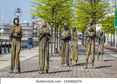 Famine sculptures on Custom House Quay in Dublin, Ireland taken on 7 May 2013