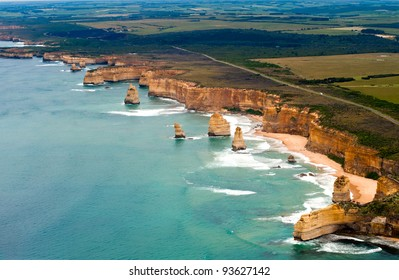 The famous 12 apostles on the great ocean road view from the sky
