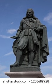 famous 17th century Admiral Michiel de Ruyter statue on the quay or pier head entrance of the harbor of Vlissingen