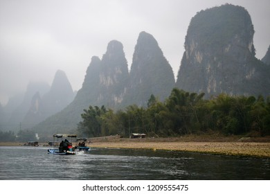 Famous 20 yuan bill view of Li River near Yangshuo and Xing Ping, Guilin, China, dry season
