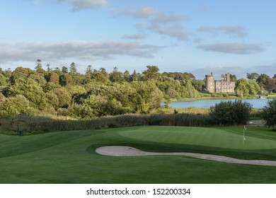 famous 5 star dromoland castle hotel and golf club panoramic in ireland. lake set in trees forest and golf  landscape. ireland golf business tourism in county clare, newmarket on fergus