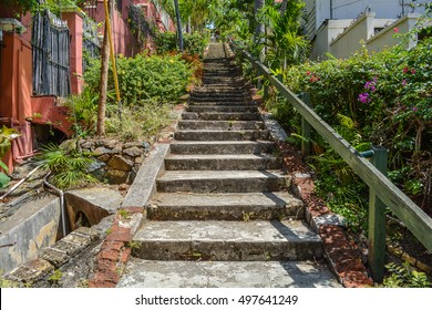 The famous 99 steps in sunny day in St.Thomas, Virgin Islands.
