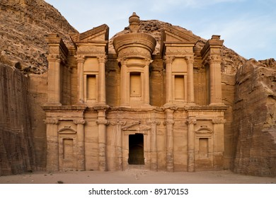 The famous Ad Deir, often also refered to as Monastery, in the ancient nabbatean city of Petra in todays Jordan.