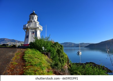 Famous Akaroa Lighthouse in Banks Peninsula, New Zealand