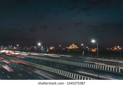 The famous Akshardham temple during night.