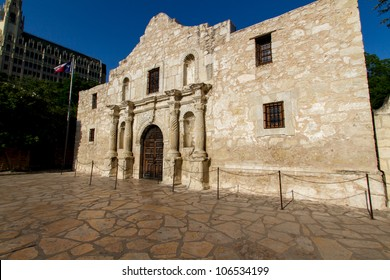 The Famous Alamo, Historic Texas Fort and Spanish Mission.  Near Sunset, in San Antonio, Texas.