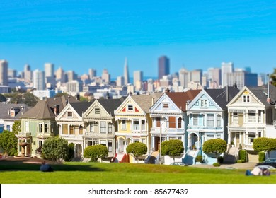 Famous Alamo Square in San Francisco, California with tilt-shift lens effect