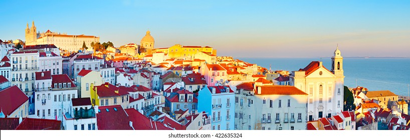 Famous Alfama district - Old Town of Lisbon. Portugal