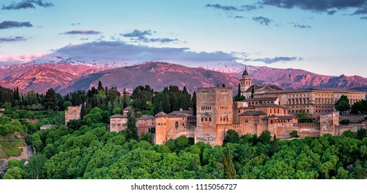 Famous Alhambra in Granada in sunset