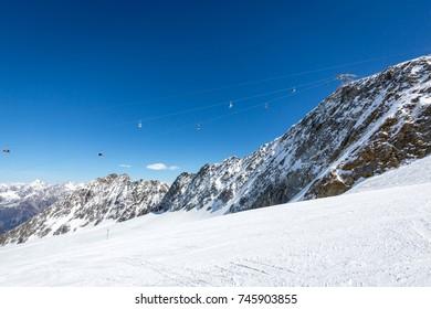 Famous Alpine ski resort on glacier in Solden, Otztal Alps, Tirol, Austria