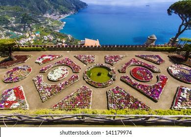 Famous Amalfi Coast view from  Ravello Rufolo Villa, Italy